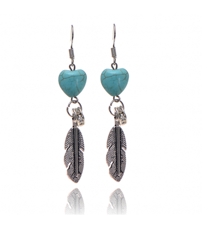 Heart N Leaf Blue Stone Earrings