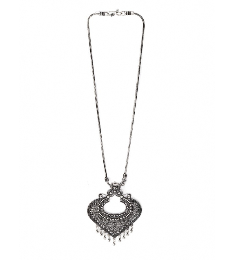 Hand Crafted Pan Shaped Look Pendant - Silver