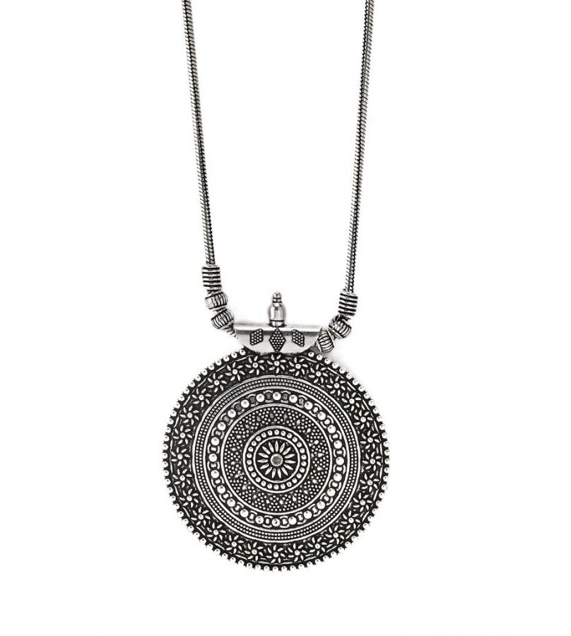 Hand Crafted Round Shaped Pendant - Silver