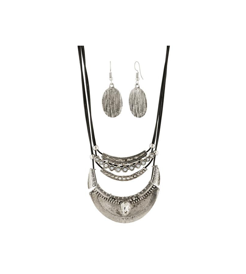 Dark Grey Statement Necklace With Earrings