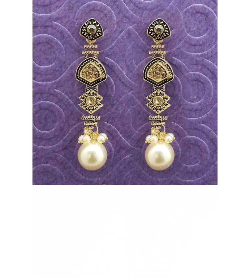 Antique Gold Plated Brown Stone Pearl Drop Earrings