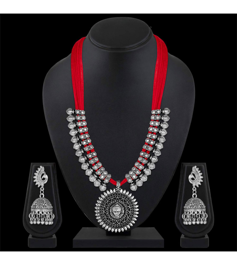 German Silver Oxidized Tribal Thread Necklace Earrings Set - Red