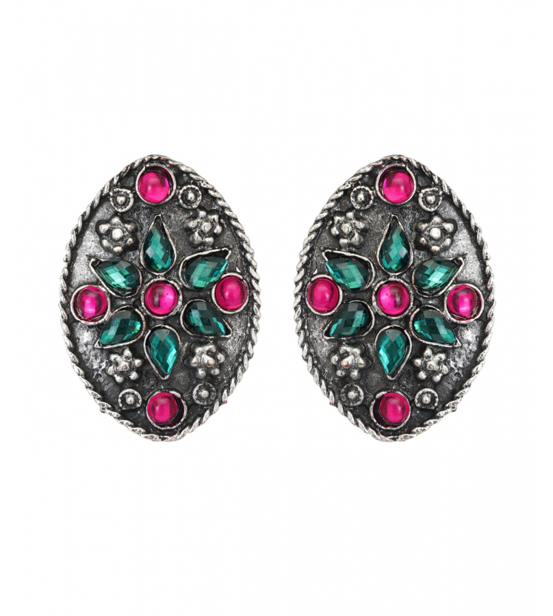 Afghani Crescent Shaped Rhinestones Studded Necklace And Earrings Set