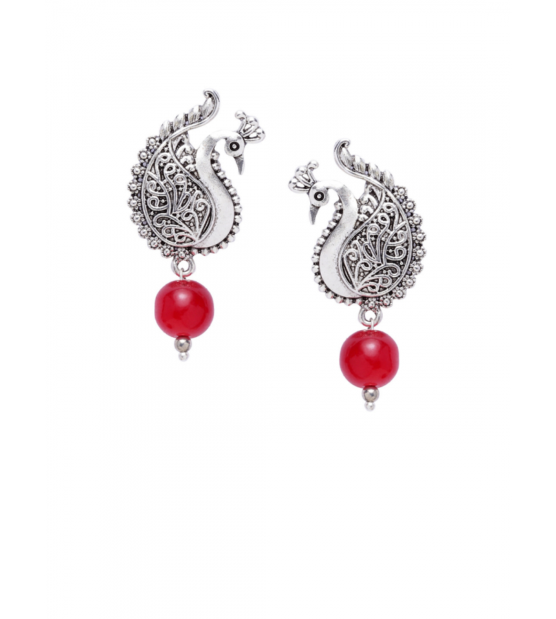 Alluring Peacock Shape Stud Earrings With Red Bead