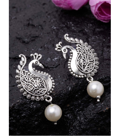 Alluring Peacock Shape Stud Earrings With White Bead