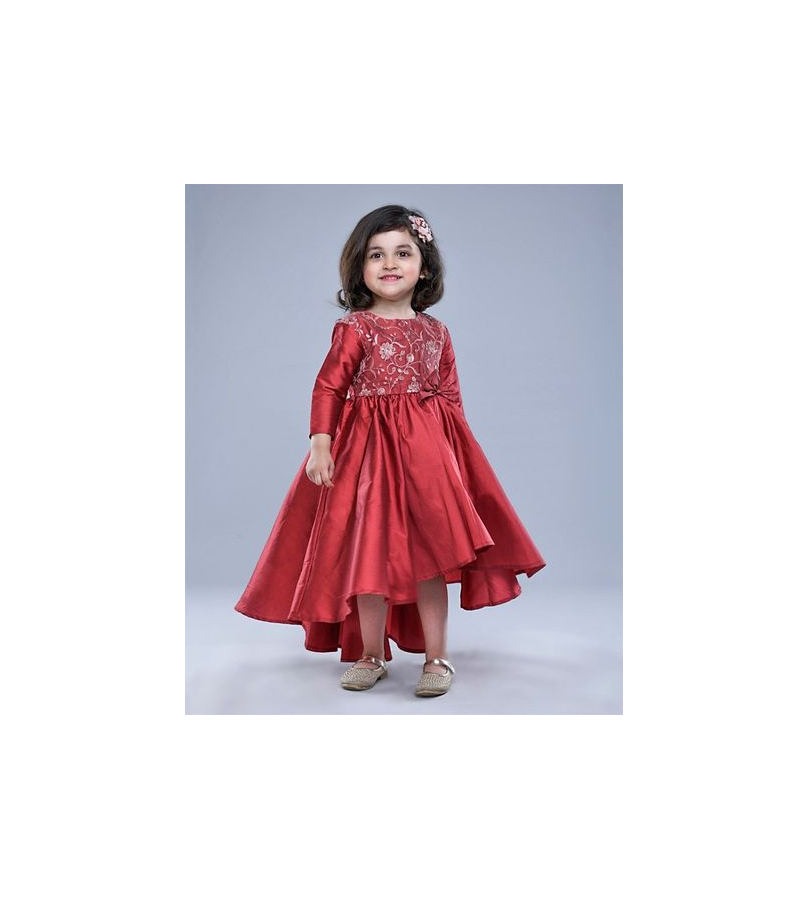 Jelly Jones Flower Embroidered Full Sleeves High Low Red Dress