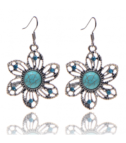 Floral Blue Stone Earrings