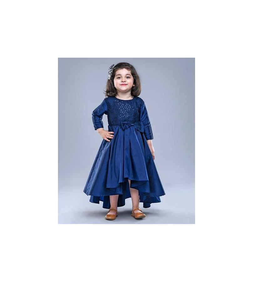 Jelly Jones Sequin Bow Detailed Navy Blue High Low Dress