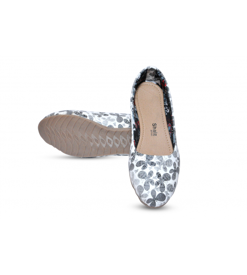 Black And Grey Butterfly Imprinted Ballerina