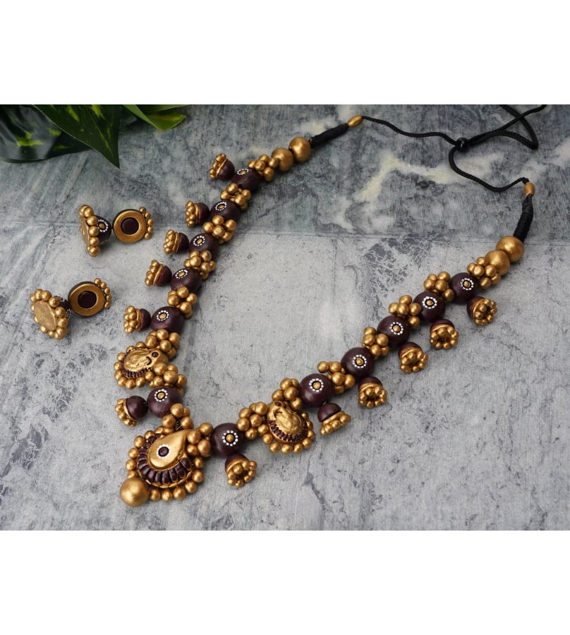 Grand Handcrafted Terracotta Purple And Golden Jewelry