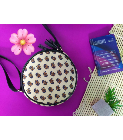 Handcrafted Fabric Sling Bag With Small Floral Print
