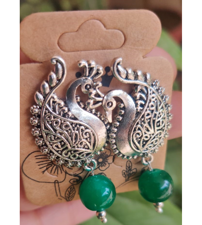 Alluring Peacock Shape Stud Earrings With Green Bead
