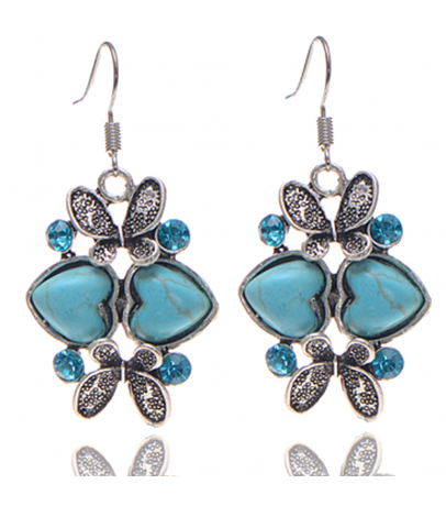 Heart N Butterfly Blue Stone Earrings