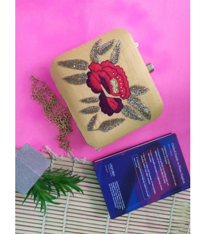 Floral Bead Embroidery Work Beige Clutch