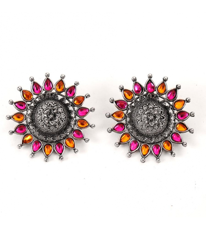 Afghani Pink N Yellow Sunflower Studs And Ring Combo