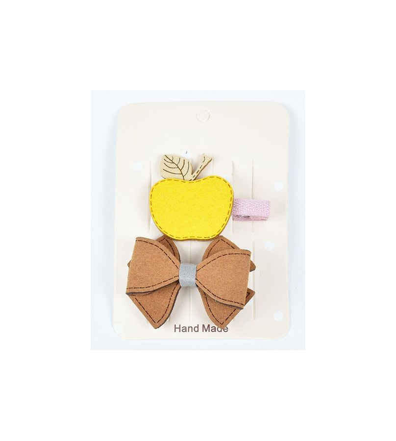 Apple And Bow Design Yellow Hair Clips