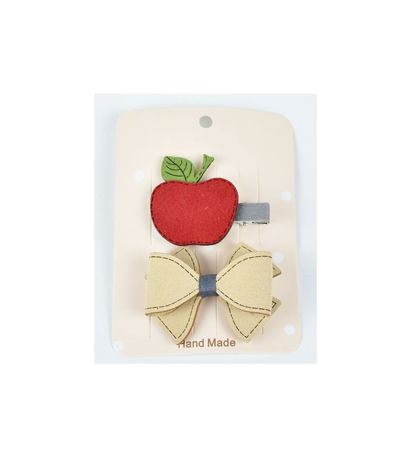Apple And Bow Design Red Hair Clip Set