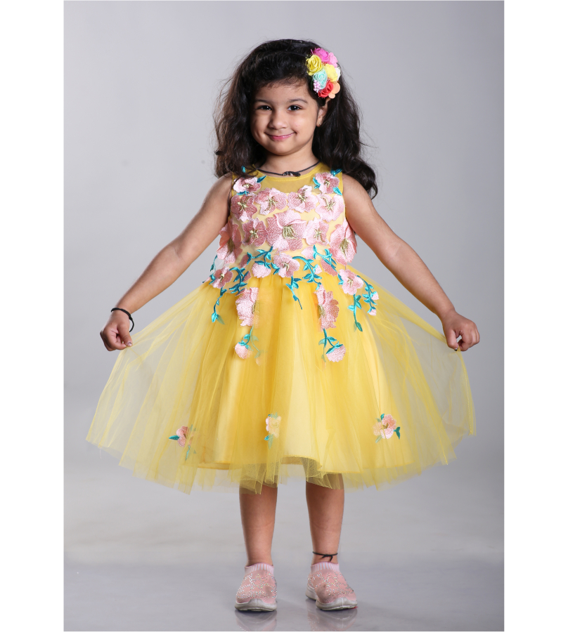 Girls Yellow Floral Applique Fit & Flare Sleeveless Dress