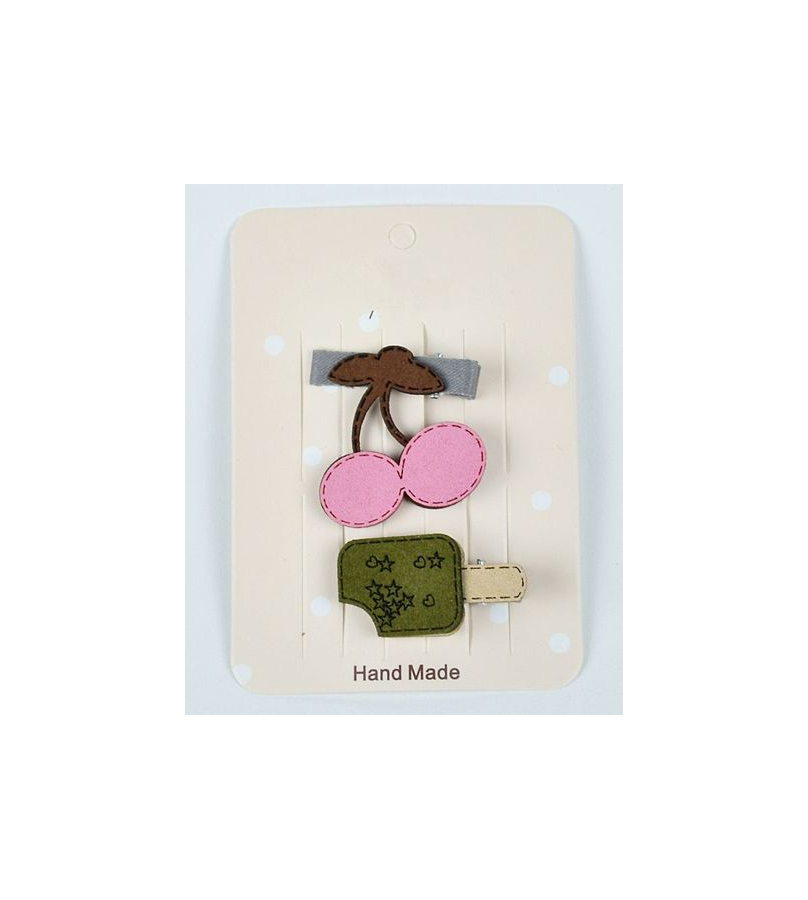 Cherry And Ice Cream Design Pink & Green Hair Clip Set