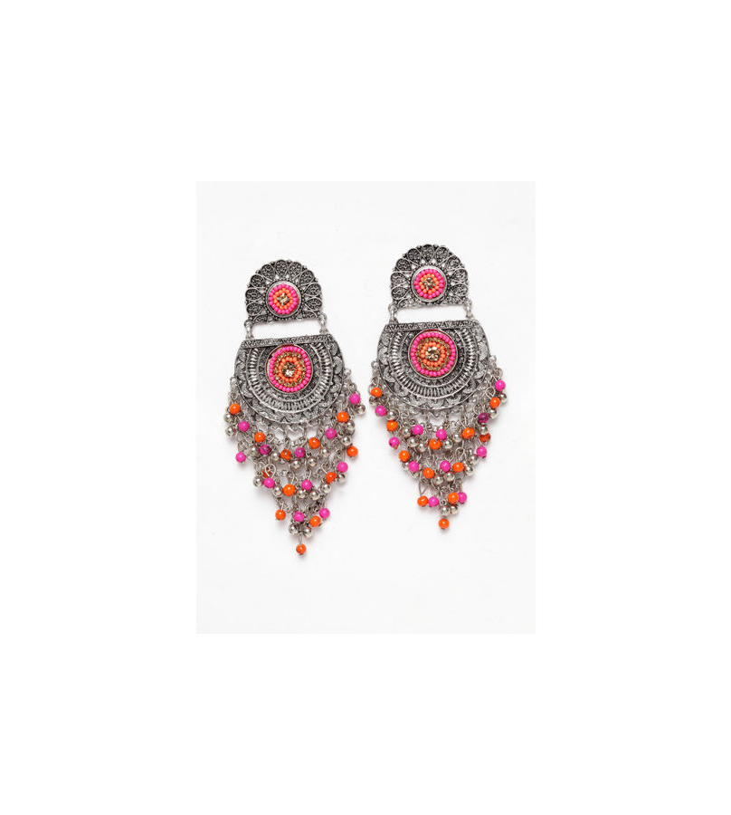 Crescent Shaped Pink And Orange Beaded Long Earrings