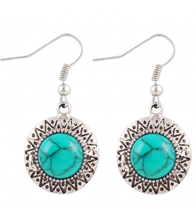Circular Blue Stone Earrings