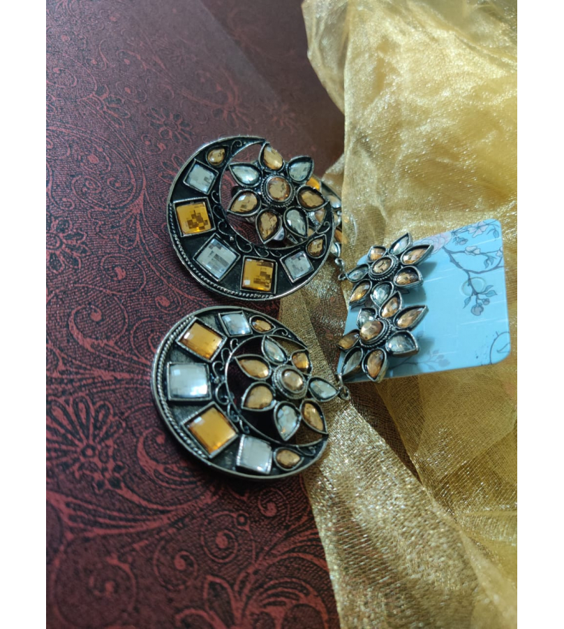 Afghani Yellow and White Mirror Stone Work Chandbali Earrings And Ring Combo