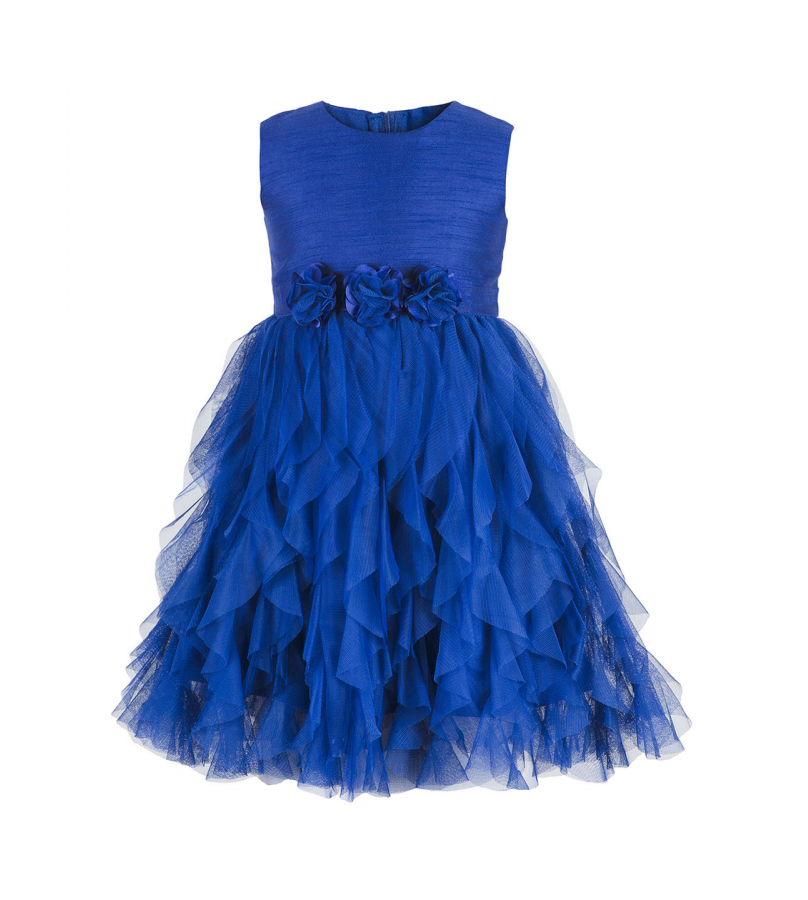 Blue Fit N Flare Sleeveless Solid Dress