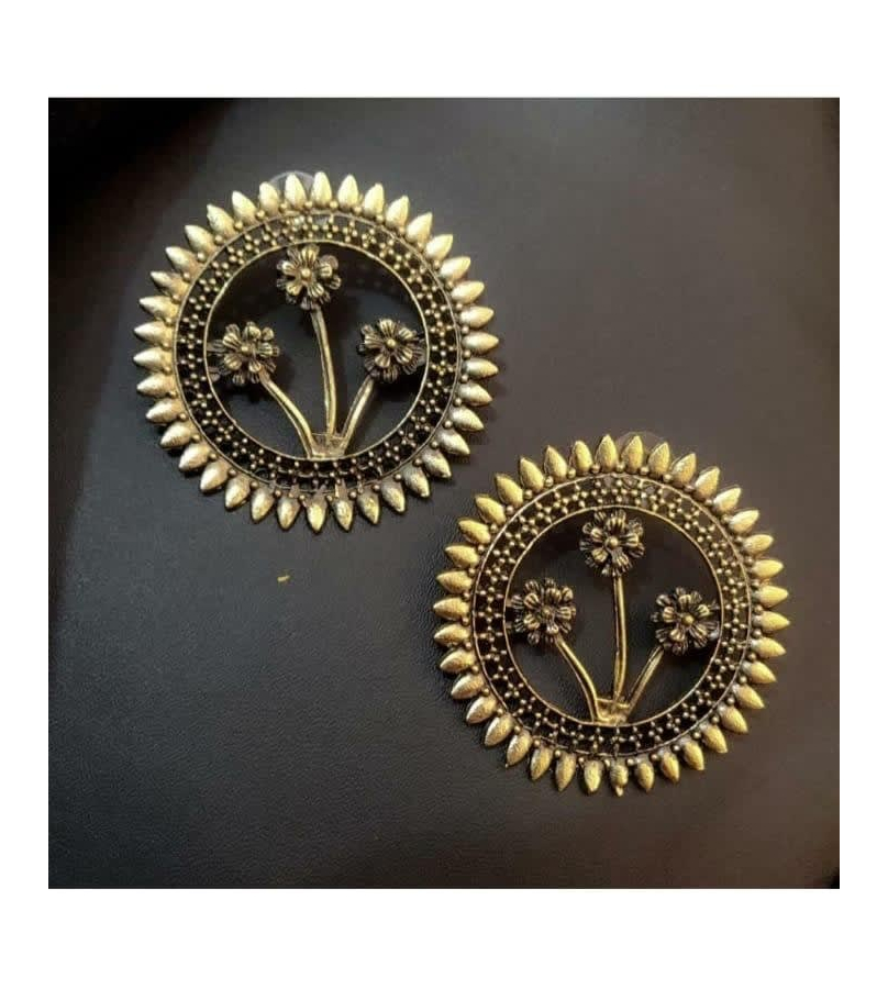 Golden Oxidized Round Floral Stud Earrings