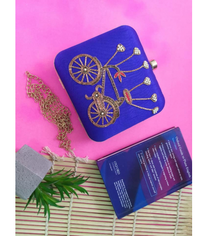 Cycle Design Embroidery Work Blue Clutch