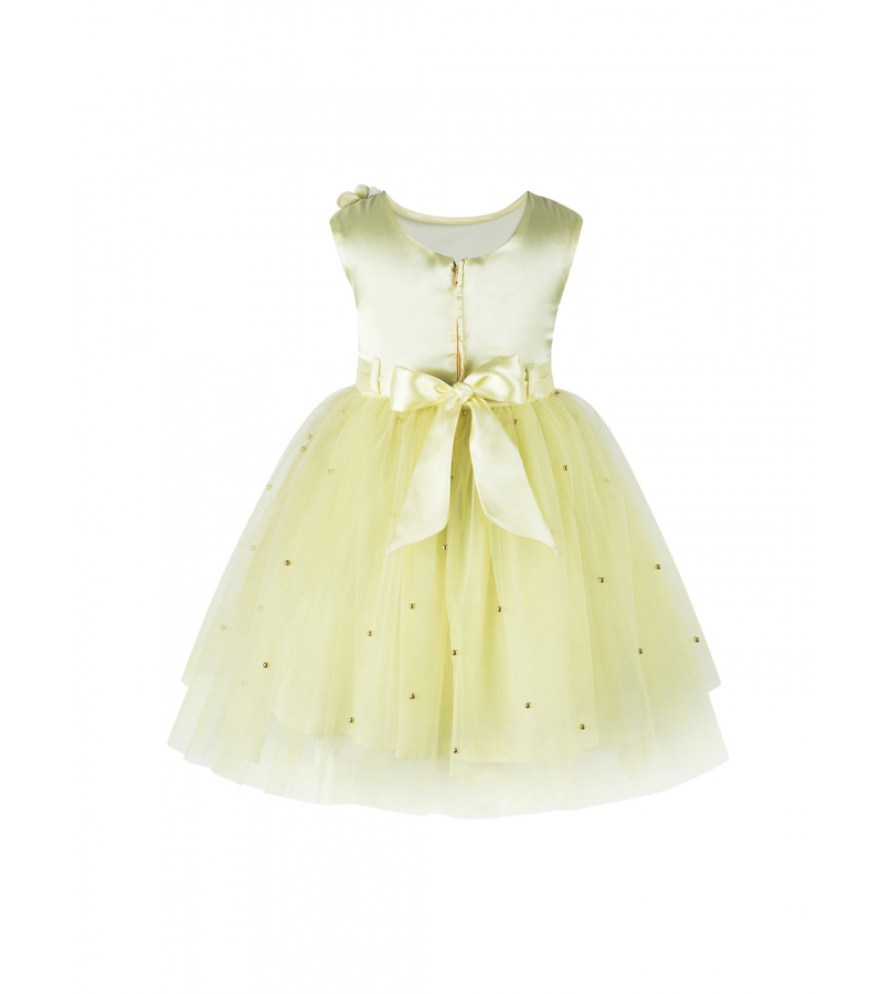 Embellished Yellow Fit N Flare Dress