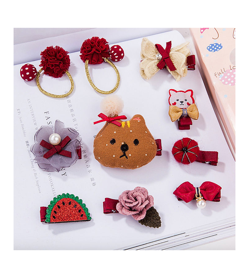 10 Pcs Trendy Hair Accessories Gift set for Girls - Red