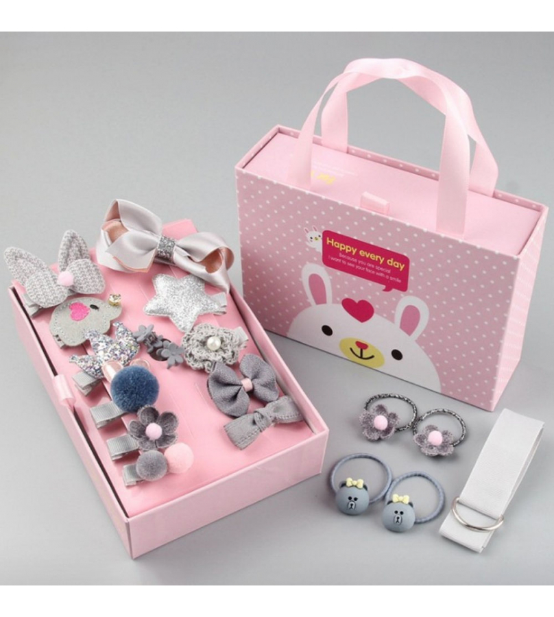 18 Pcs. Trendy Hair Accessories Gift set for Girls - Grey