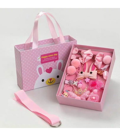 18 Pcs Pretty N Trendy Hair Accessories Gift Set for Girls - Pink