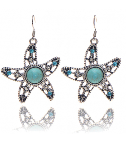Star Fish Design Blue Stone Earrings