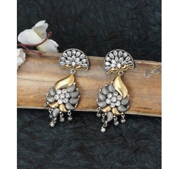 Dual Tone Antique Look White Stone Studded Earrings