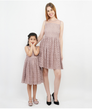 Dusty Pink Cutwork Self Design Net Combo Dress