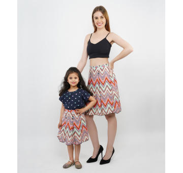 Front Pleated Knee Length Multi Color Skirt Combo