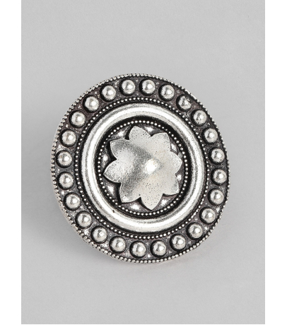 Aarzoo Floral Oxidized Adjustable Ring