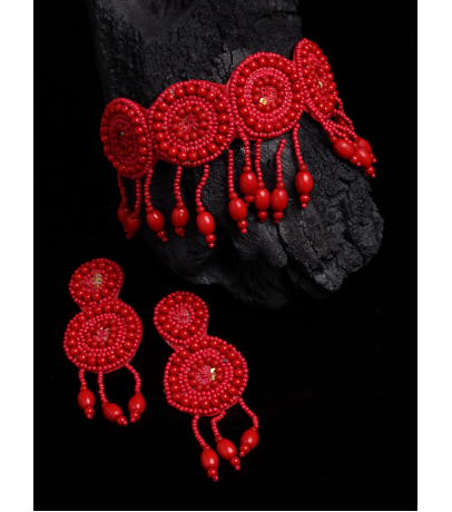 Alibi Handcrafted Long Red Beaded Necklace With Earrings