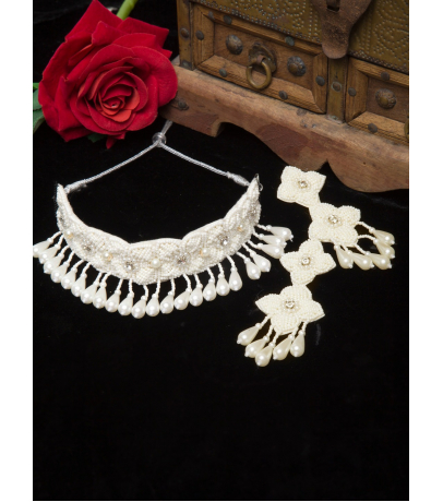 Alibi Handcrafted Long White Beaded Necklace With Earrings
