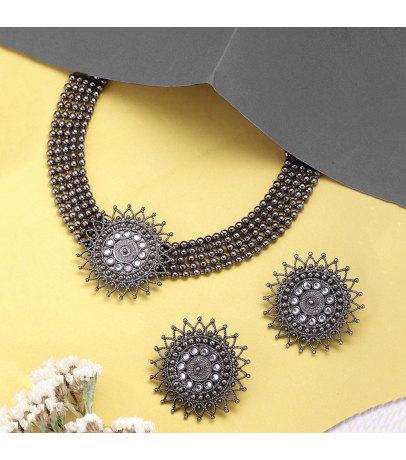 Antique Blackish Tone Choker Necklace With Stud Earrings