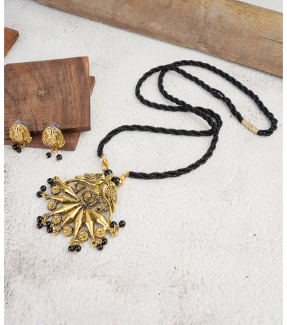 Antique Golden Oxidized Peacock Mangal sutra Pendant With Stud Earring...