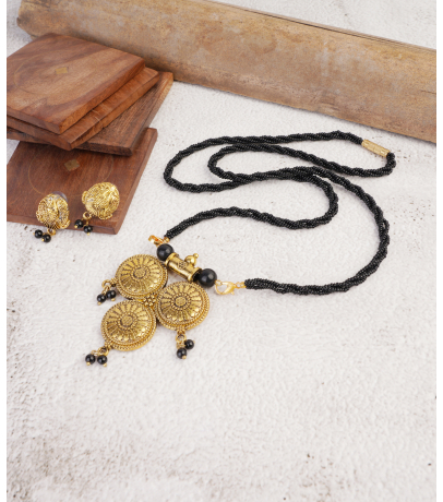 Antique Golden Oxidized Elegant Mangal sutra Pendant With Stud Earring...