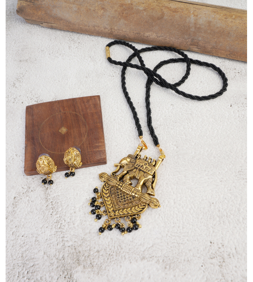 Antique Golden Oxidized Elephant Mangal sutra Pendant With Stud Earrings