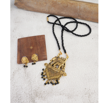 Antique Golden Oxidized Elephant Mangal sutra Pendant With Stud Earrin...