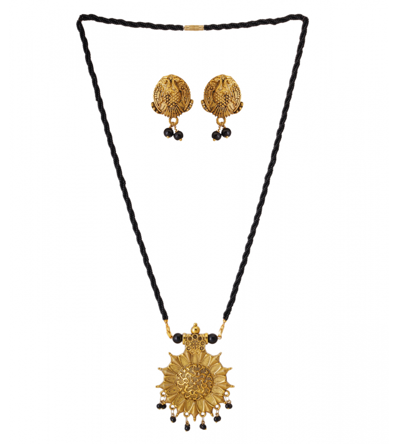 Antique Golden Oxidized Floral Mangal sutra Pendant With Stud Earrings