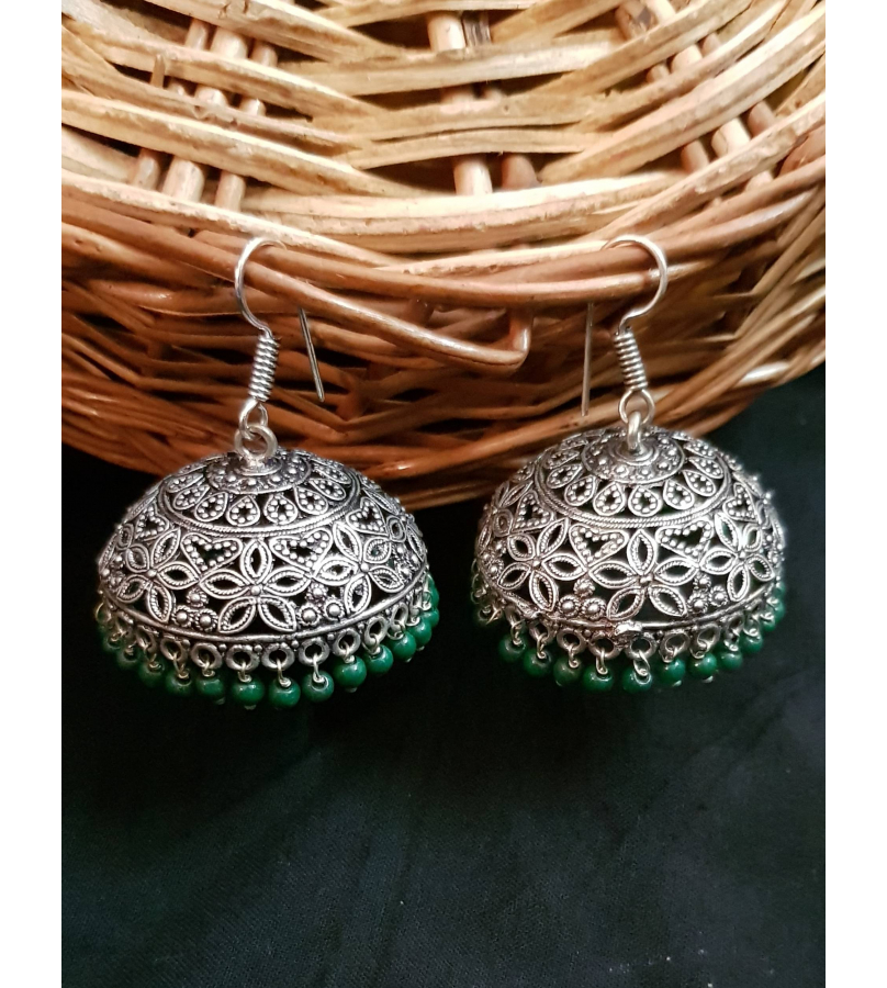 Ayudhi Oxidized Engraved Floral Jhumki Earrings With Green Beads