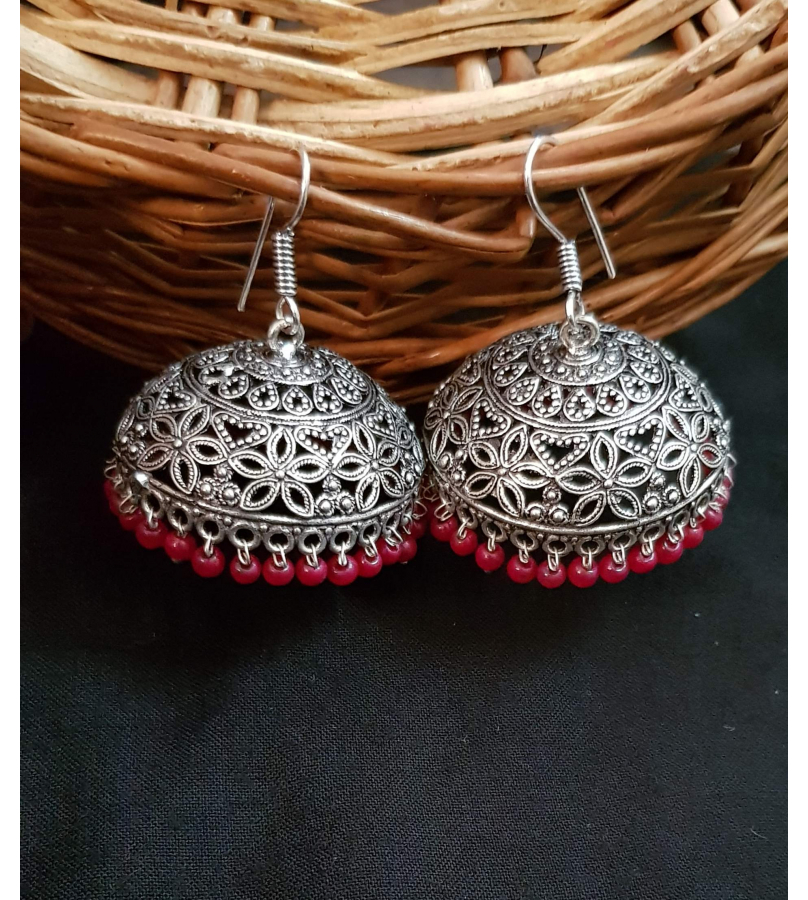 Ayudhi Oxidized Engraved Floral Jhumki Earrings With Red Beads