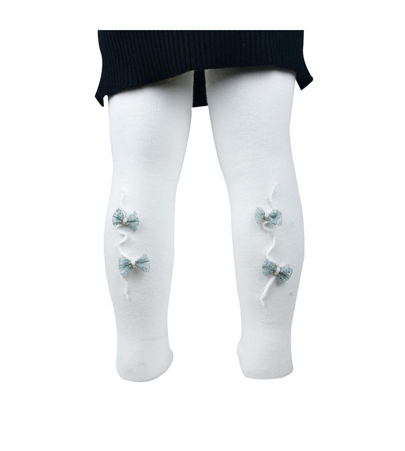 Back Bow Design White Stockings For Girls