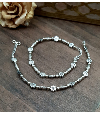 Beautiful Oxidized Flowers with Multi Beads Anklets